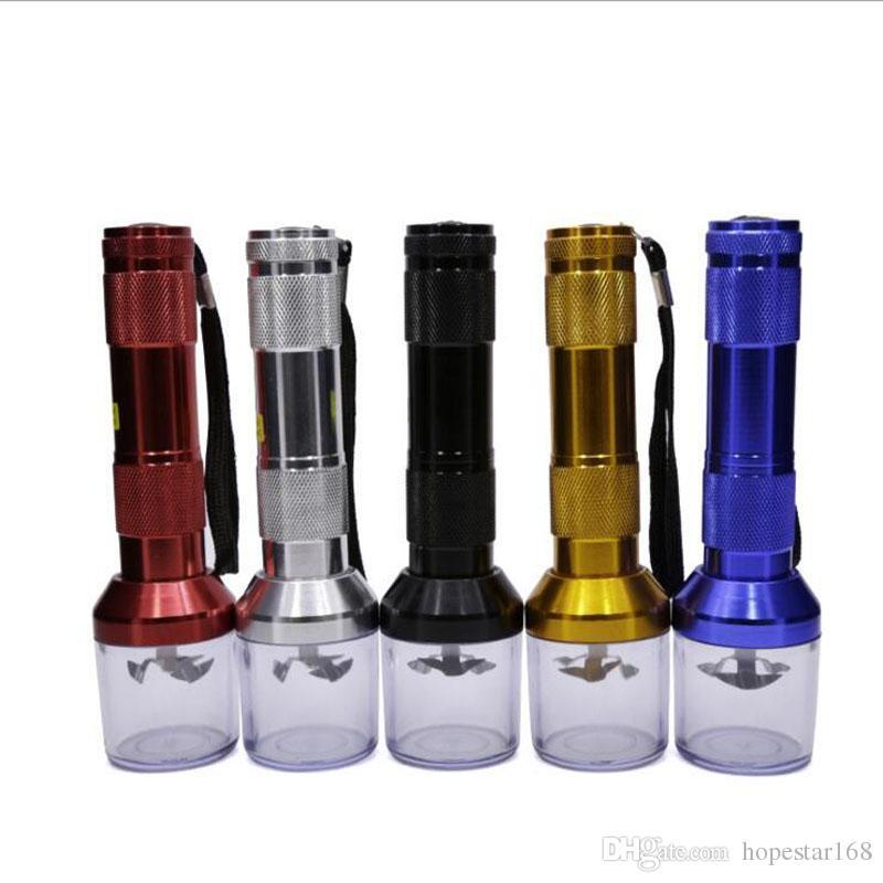 Курительные трубки Fashio 5 цветных алюминиевых электрических табачных дробилок Дробилка травы Дымовые дробилки фонарик Пыльцевая сигарета Сломанные детекторы дыма