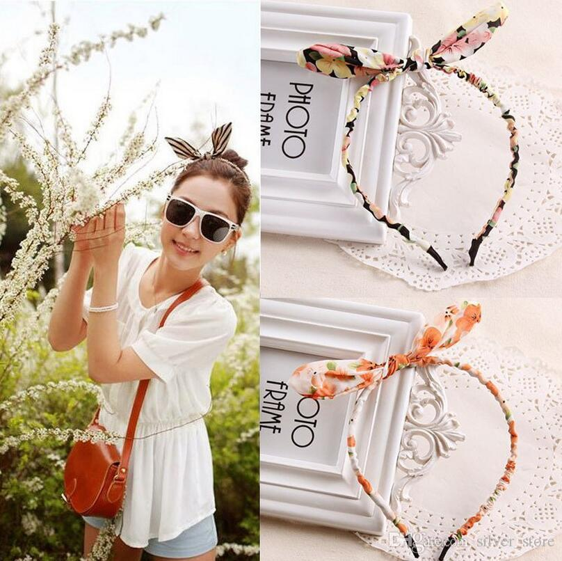 Hot sale Hair ornaments floral cute cloth rabbit ears hair hoop hair lead headband TG046 mix order 30 pieces a lot