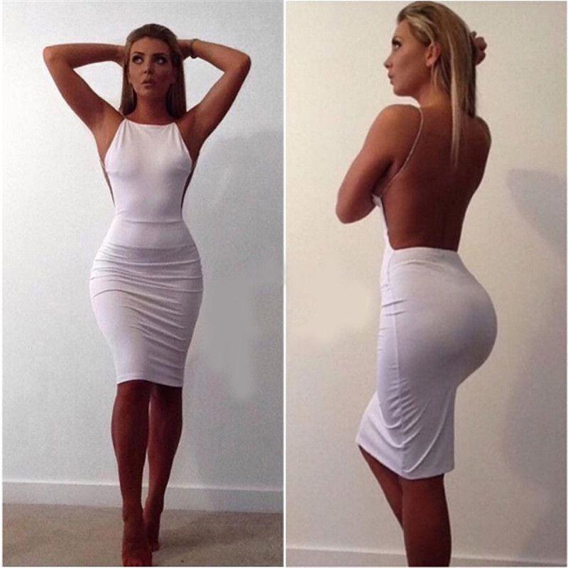Sexy Bodycon Backless Kleid mit Slash Hals Paillettenkette Kette Knielange Farbe Massiv Schwarz Weiß Sommer