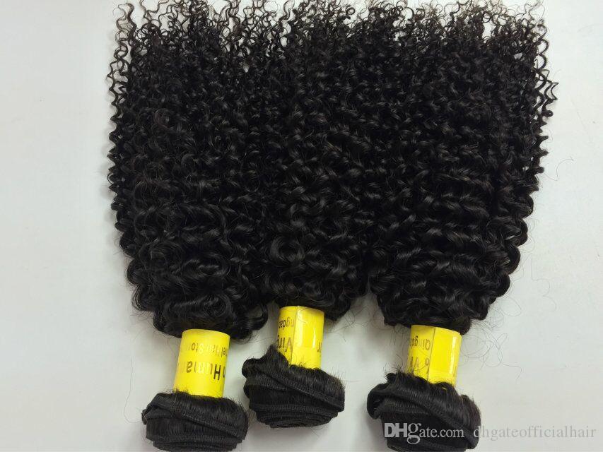 Kinky bouclés Brésiliens Cheveux Weaves NON TRAITÉS Cheveux Humains Trames Indien Malaisien Péruvienne Extensions de Cheveux Double Trame crépus bouclés Bundles