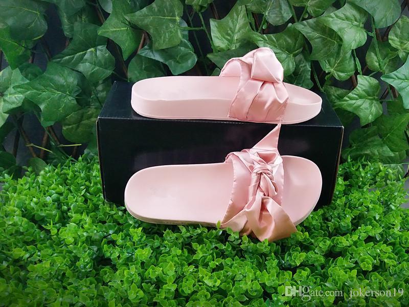 483ed4e7f0cf Women Slipper Fenty Rihanna Slippers Bow Bandana Slide Slippers Fenty Bow  Slides For Women Indoor Slides With Box And Dust Bags Men Boots Slipper  Boots From ...