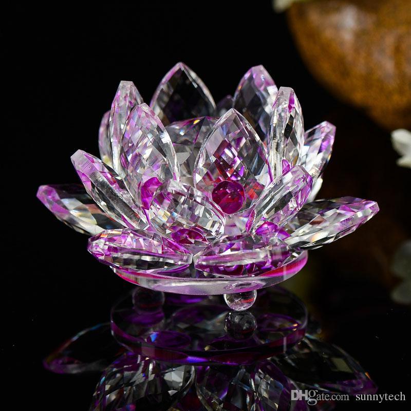 100mm K9 Kristall Lotus Blume Handwerk Feng Shui Ornamente Figuren Glas Briefbeschwerer Party Geschenke Hochzeit Dekoration Souvenirs LZ0058