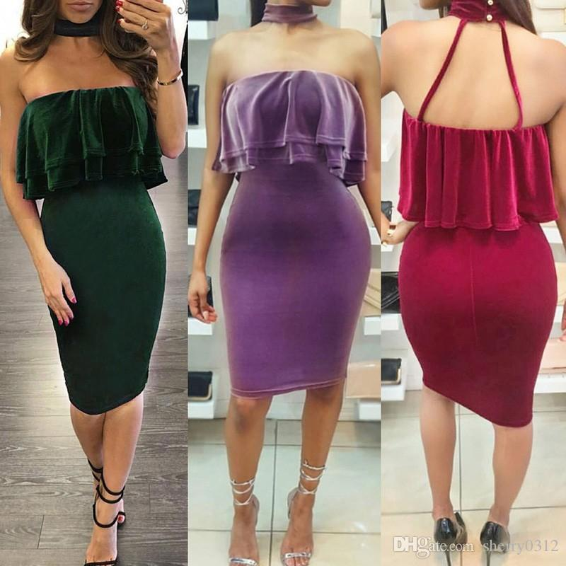 894cf2f09352 2019 2017 Womens Red Off Shoulder Ruffles Chocker Velvet Midi Dress Sexy  Evening Party Club Green Women Vestidos Plus Size Office Purple Dress From  ...