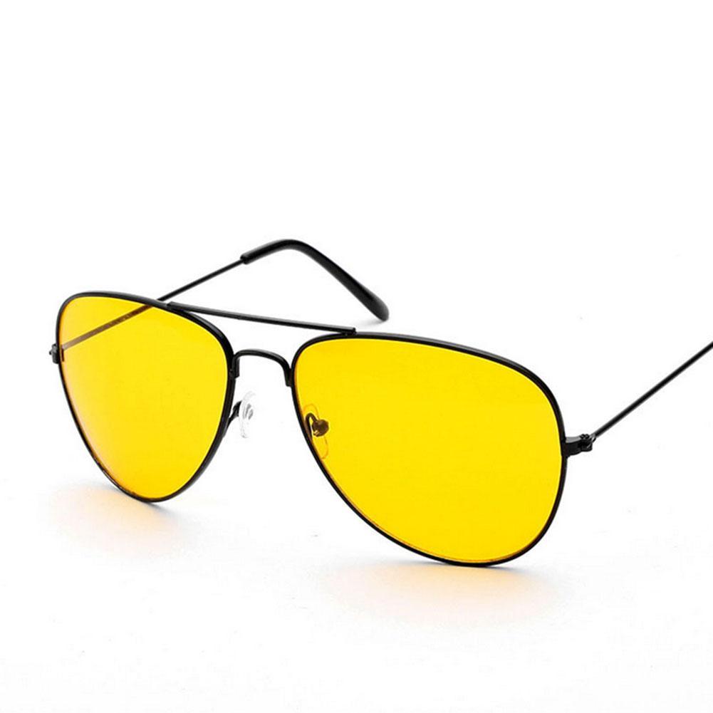 061cd3992f0c4 Compre Atacado Noite Condução Óculos De Sol Homens Armação De Metal Amarela  Lente De Visão Noturna Óculos De Sol Dos Homens Marca Óculos De Sol L4 De  ...