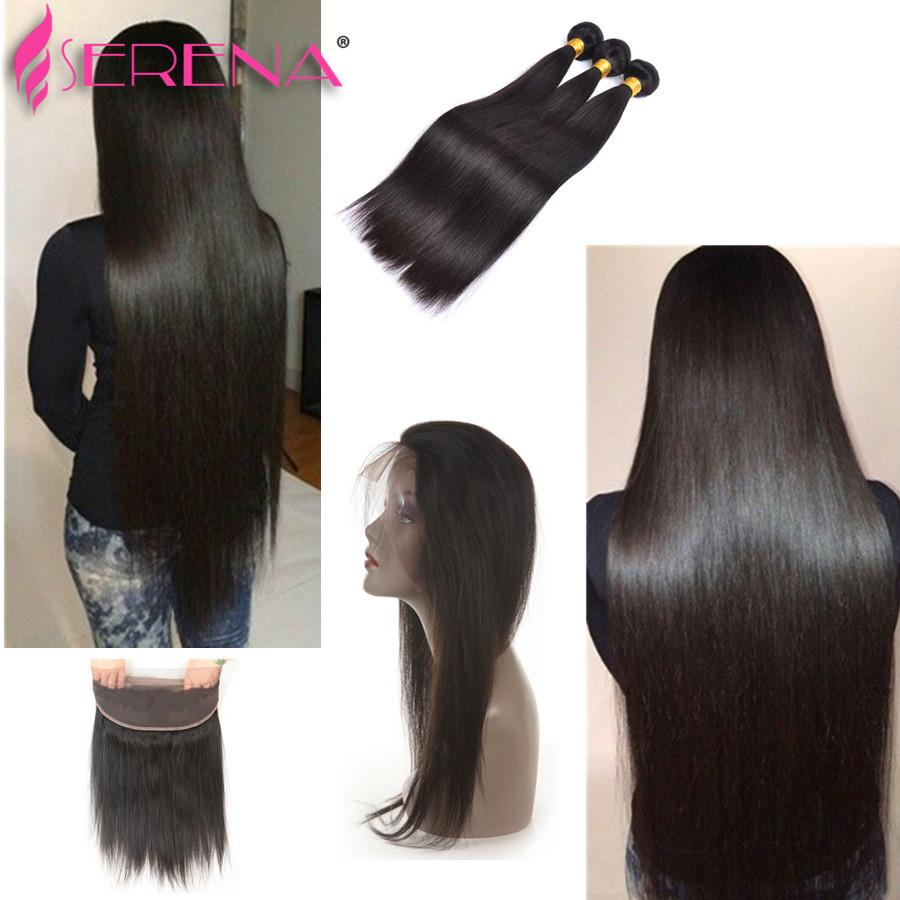 Pre Plucked Brazilian Hair Wefts 360 Lace Frontal With Bundle Extensiones De Cabello Straight Virgin Hair Bundles With Baby Hair Extensions