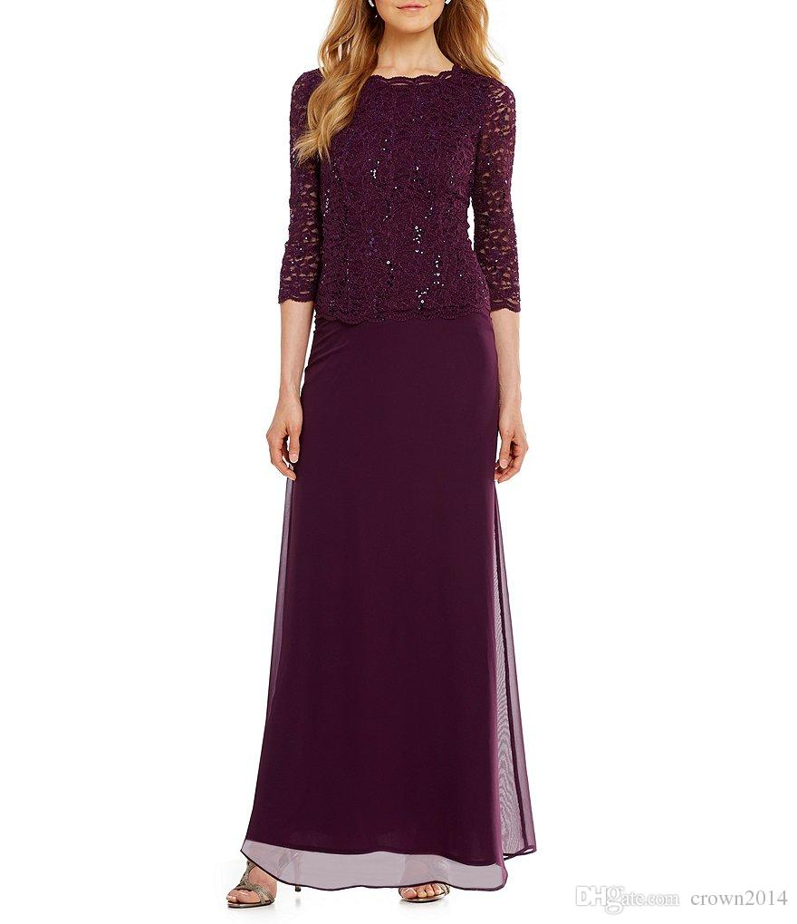 2017 Purple Lace Sequin Long Mother Of the Bride Dresses 3/4 Sleeve Chiffon Skirt Plus Size Formal Evening Gowns Wear For Weddings Custom