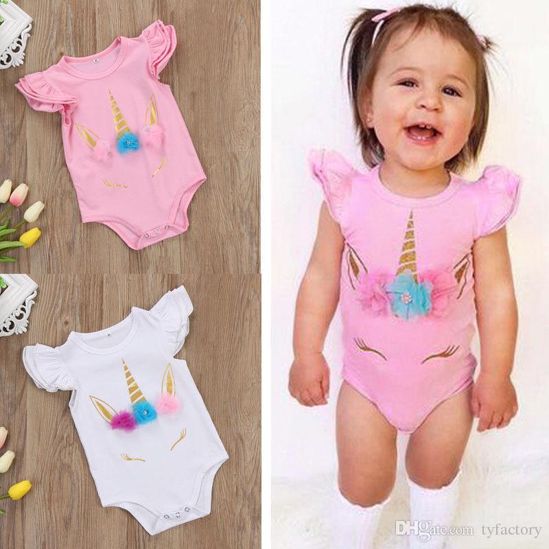 f83032141f21 2019 Newborn Infant Baby Boy Girls Summer Unicorn Romper Fashion ...