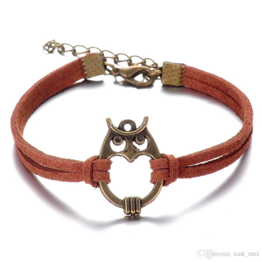 Brand New Fashion hibou main corde en alliage bracelet tissé à la main FB256 mix ordre 20 pièces beaucoup bracelets de charme