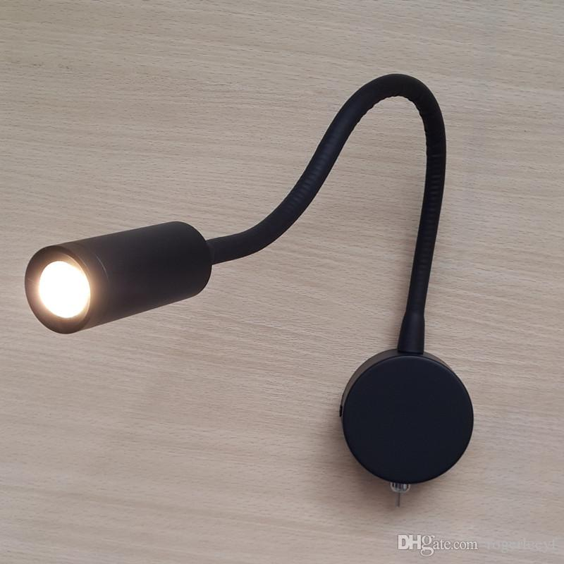 TopocH Flexible Bedside Lamps Matte Black Hard Wired on/off Switch LED 3W 200lm AC100-240V Residential Commercial RV Boat Lighting