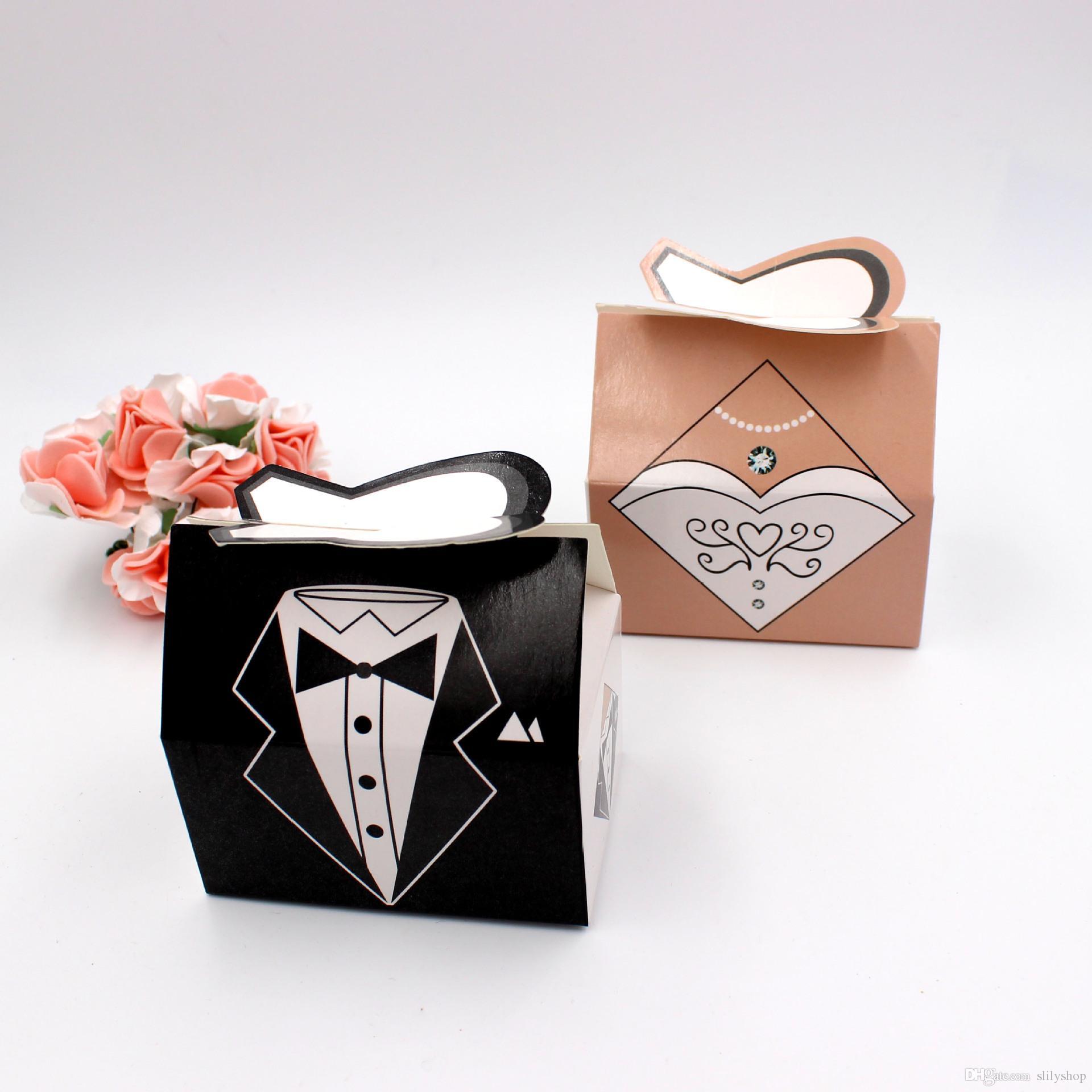 100Pair Bridal Groom Tuxedo Dress wedding candy box of cartoon folding carton gift boxes for wedding
