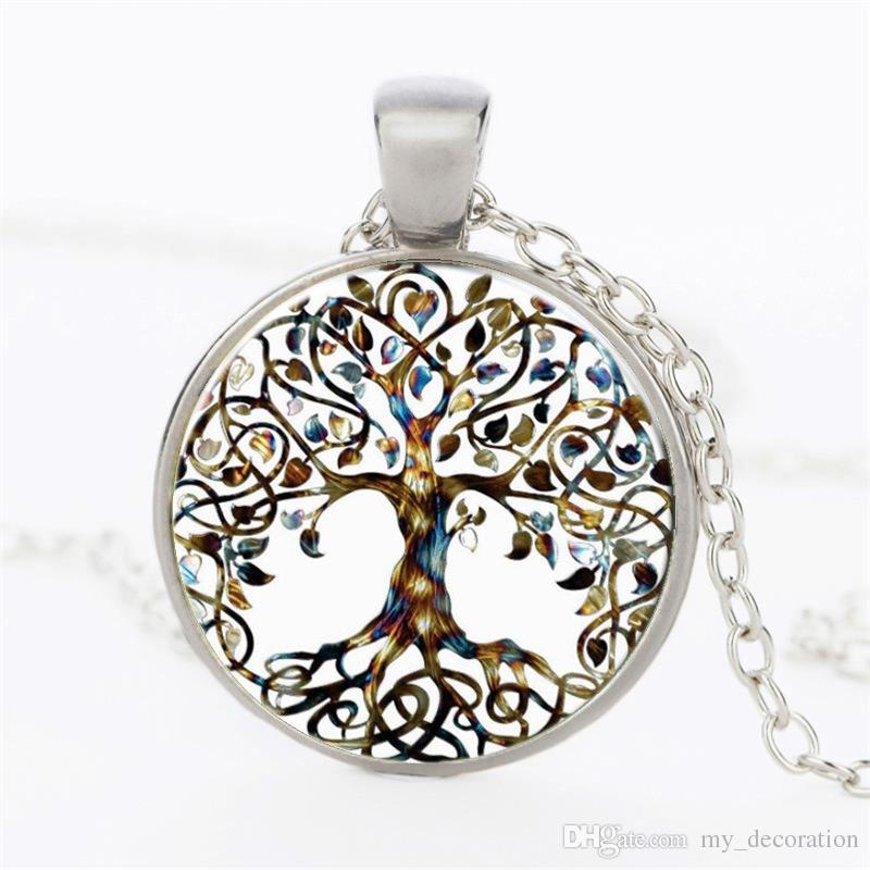 Vintage Glass Cabochon Necklace Tree of Life Bronze Silver Gold Black Chain Pendant Necklace Gemstone Cameo Choker Jewelry Accessary Gifts