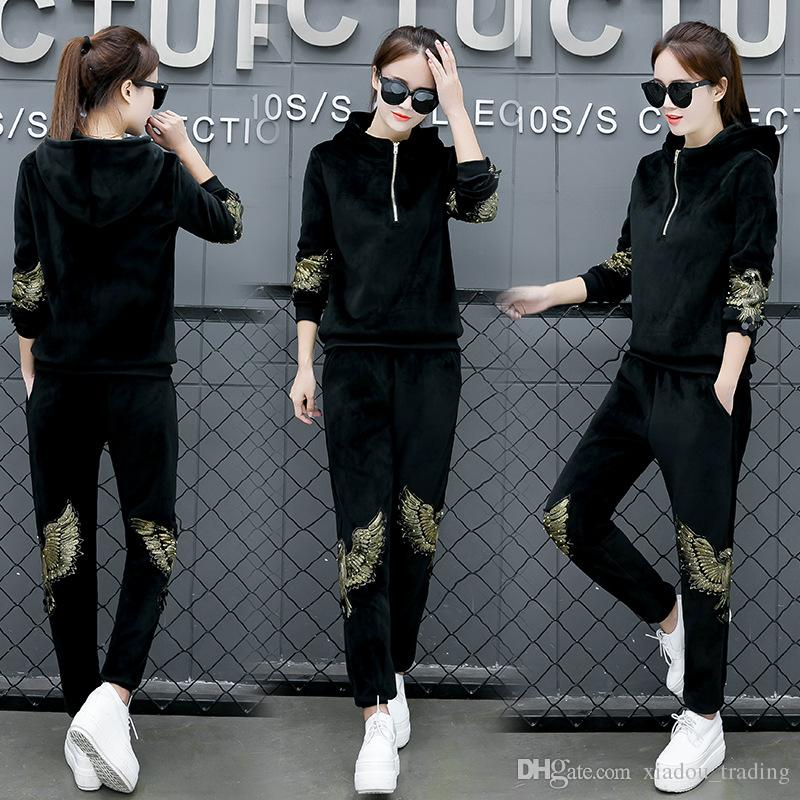 5aea9ee15941 2019 2017 Autumn Winter Women S Sports Suit Tracksuits Velvet Women ...