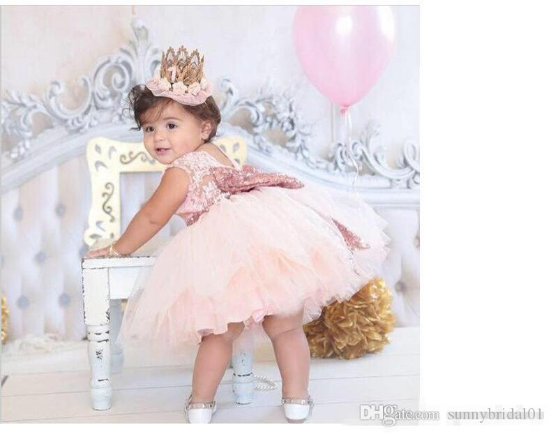 2017 New Arrival Cute Pink White Flower Girls' Dresses Lace Appliques Tulle Puffy Little Girls Ball Gowns For Wedding Party In Stock