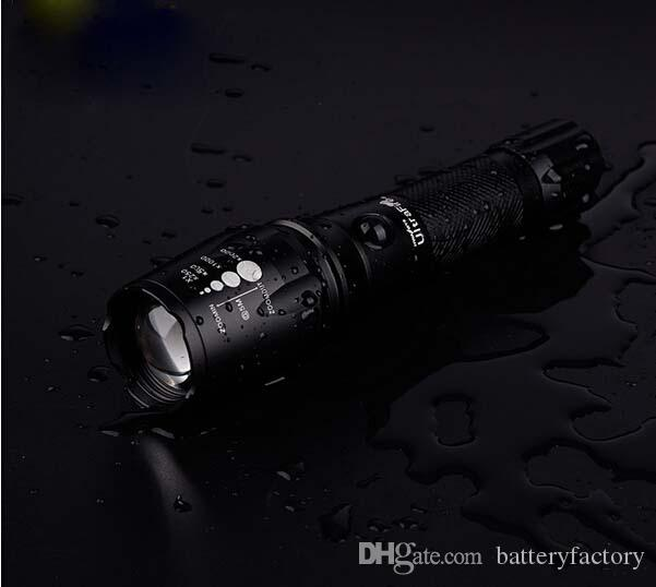 NEW High Power CREE XM-L T6 2200 Lumens Flashlight E17 CREE LED Zoomable Torch light with 18650 Battery + Car Charger + Charger + Box