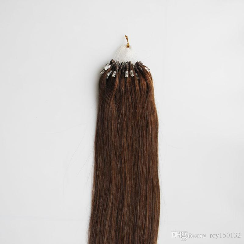#6 Medium Brown Straight Loop Micro Ring Hair 1g/strand 50s/pack 50g Apply Natural Hair Micro Link Hair Extensions Human 4b 4c