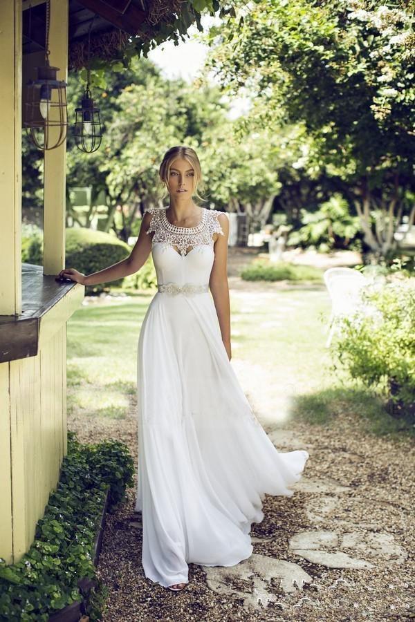 A-Line abiti da sposa 2017 pizzo gioiello collo matrimonio spiaggia con backless avorio chiffon bordato nastro economici abiti da sposa lunghi