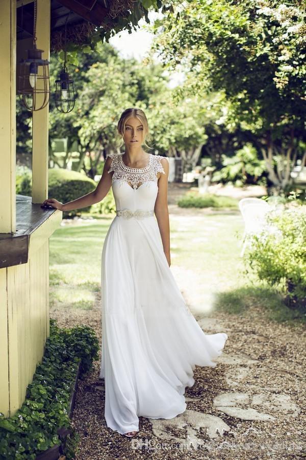 Una línea de vestidos de novia 2017 del cordón de la joya del cuello para la boda de playa con la gasa de marfil sin respaldo con cuentas de la cinta vestidos de novia largos baratos