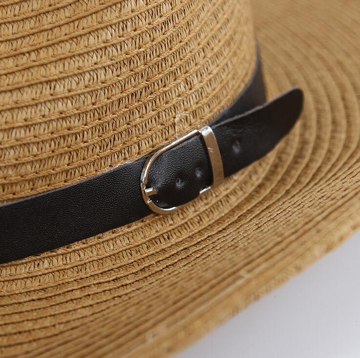 Hasır Örgü Erkekler Kovboy Şapka Toka ile Batı Amerikan Erkek Şapka Bayan Plaj Şapka Katı Haki