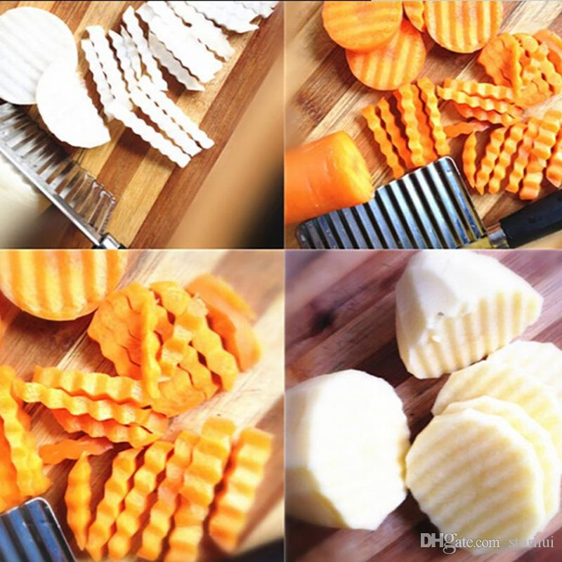 Potato Wavy Cutter Stainless Steel Vegetable Fruit Cutting Knife Potato Cucumber Carrot Waves Cutter Cooking Tool WX-C33