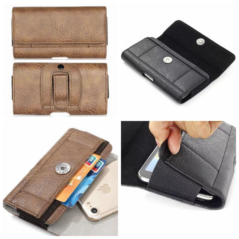 Для Galaxy Note 20 10 S20 S10 Iphone 12 11 Pro XS MAX X R 8 Hip Горизонтальные кобура Универсальный кожаный камень Зерновой универсальный зажим пояса мешок