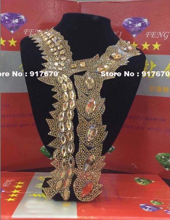 Fashion Rhinestone Transfer Iron On Hotfix Crystal Applique, Bling Rhinestone Motif Patch Collar Applique