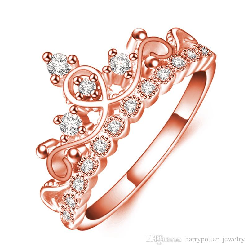 Fashion Zircon Crystal Diamond Crown Ring Women Rose Gold Finger Rings Bridal Wedding Jewelry Plated Cz 080201 Men Bands