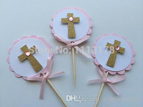 Custom personality Pink and Gold Baptism Cupcake Toppers. First Communion, Confirmation, Christening wedding party cake topper