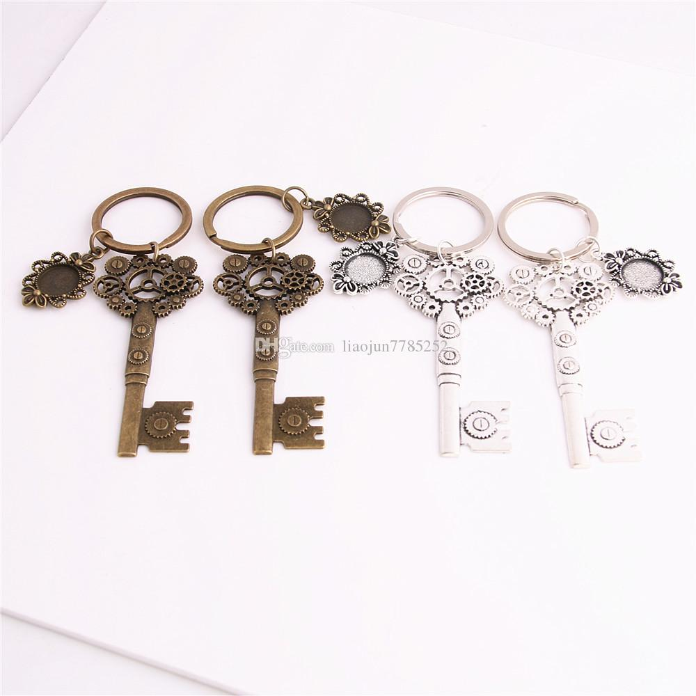 SWEET BELL 3pcs/lot Metal Alloy Zinc Key Chain Fit Round 12.5mm Cabochon Base Gear Key Charm Pendant Diy Jewelry Making C0888