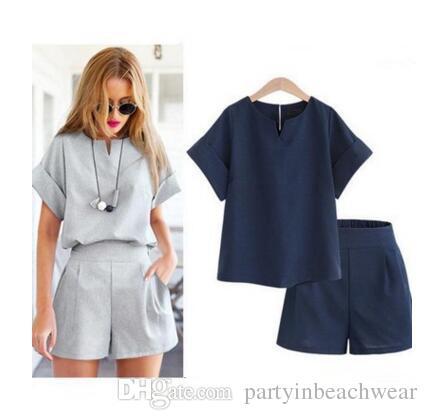 Two Piece Shorts Sets Women Summer Casual Cotton Linen V-neck Short ... ea11cf72b