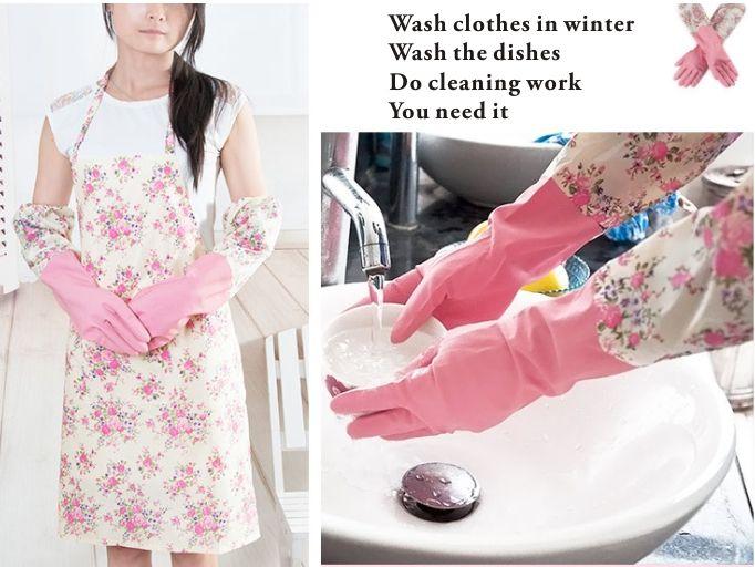 Guanti lunghi elasticizzati Guanti in gomma, protezione le mani., Oves Guanti in gomma / lattice proteggere le mani. Lavare i guanti in inverno.