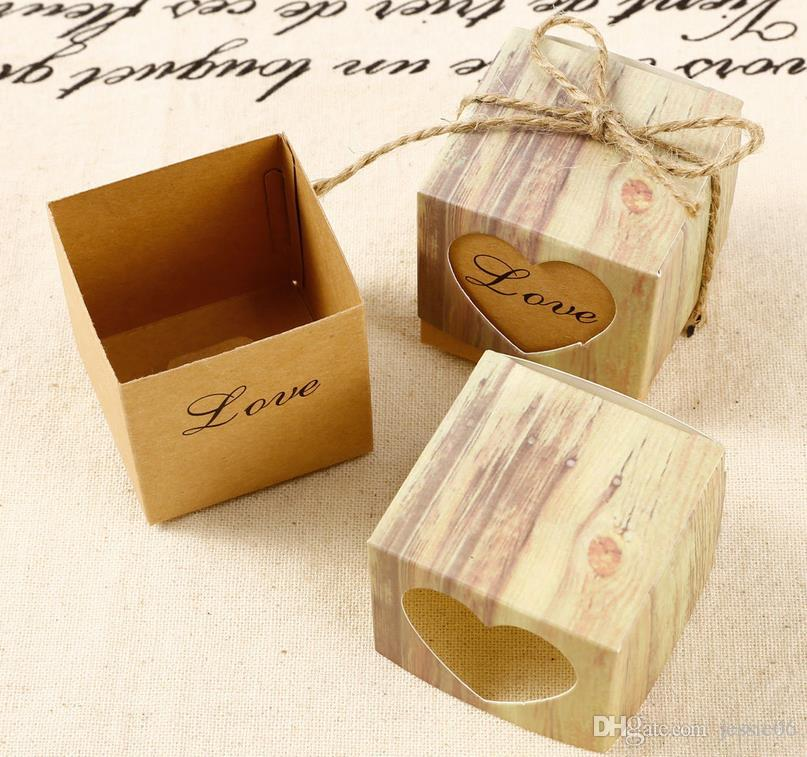 Vintage kraftpapier hol liefde hart gunst geschenkdoos bruiloft verjaardagsfeestje handgemaakte zeep sieraden snoep wrap verpakking dozen