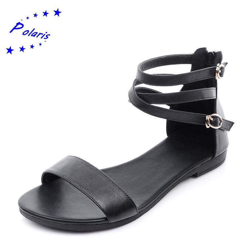 Wholesale-Polaris Genuine Leather New Arrival Hot Sale Fashion Summer Sweet  Women Flats Heel Sandals Casual Buckle Strap Women Shoes SS230 Shoe Men  Shoes ... 3c205573047f