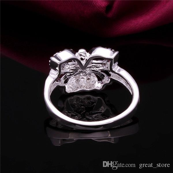 brand new Peach heart butterfly sterling silver ring GR409,women's White gemstone 925 silver rings Wedding Rings