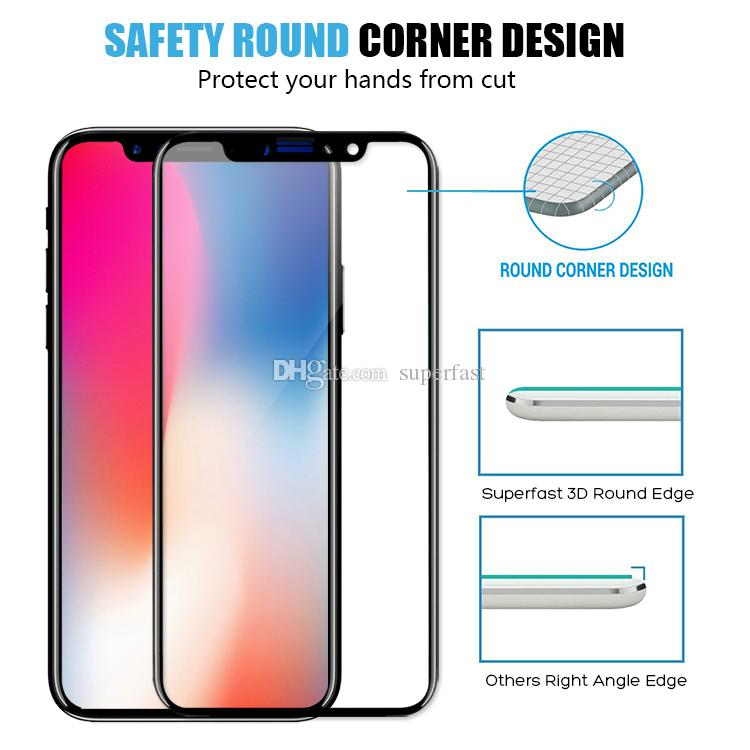 Full Cover Tempered Glass 3D Curved Soft Edge Rim Full Screen Proctor Carbon Fiber Design For Iphone X 8 7 5 No Package