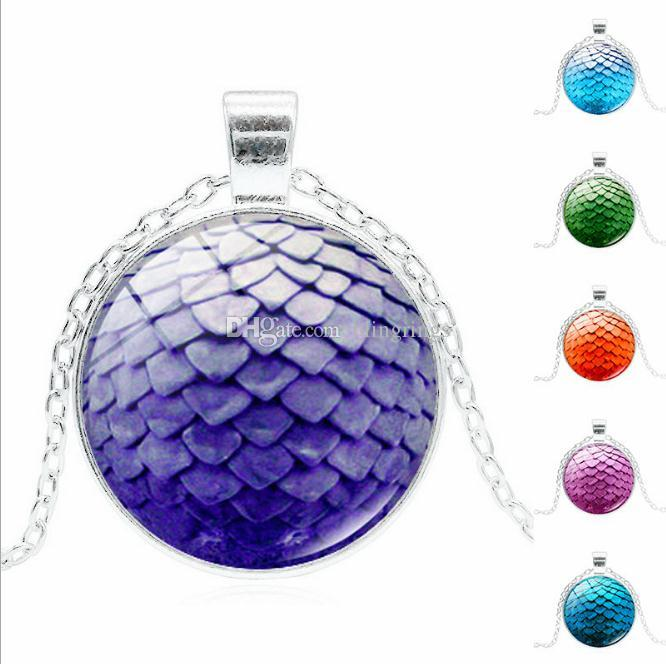 Wholesale Pendant Necklace Large Egg Necklace Glass Dome Game Pendant Game Of Thrones Dragon Egg Dragon necklace Jewelry