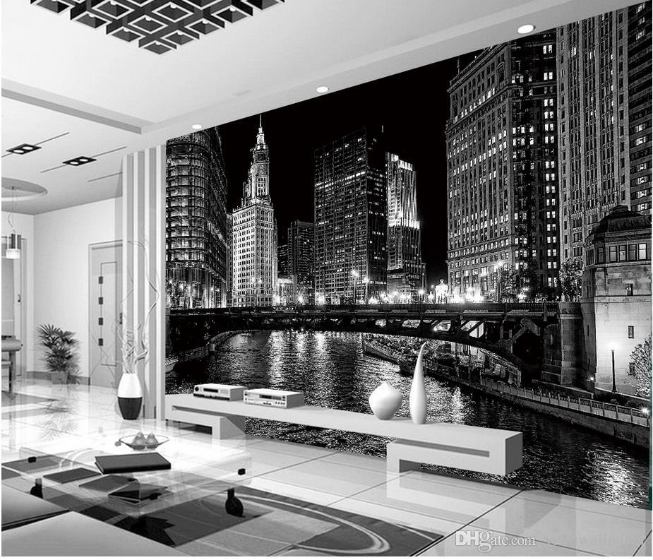 Black and white city night murals mural 3d wallpaper 3d for Black and white london mural wallpaper