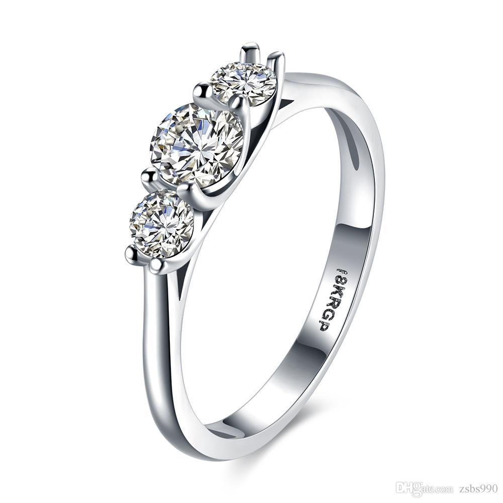 2019 Hot Sales Low Price 18k White Gold Plated Aaa Zircon Engagement