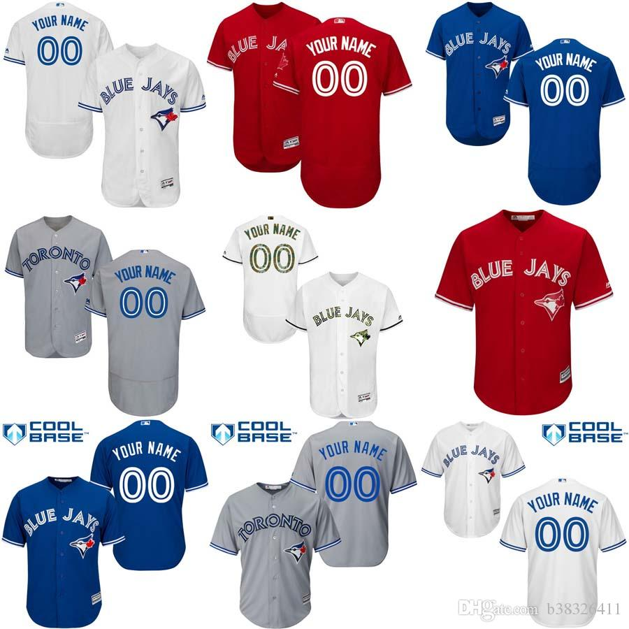 6dafd47f1a0 ... Baseball Jerseys Mens Toronto Blue Jays Customized Majestic Blue White  Red Grey Flexbase Cool Base Authentic ...