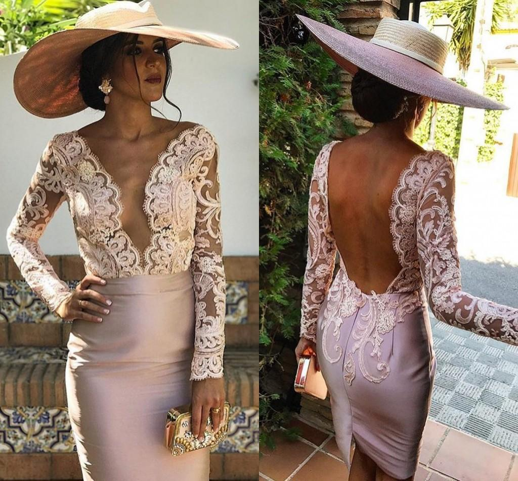 Sexy Backless Champagne Short Evening Dresses Deep V Neck Illusion Bodice Appliques Lace Sheath Satin Long Sleeves Formal Party Dresses