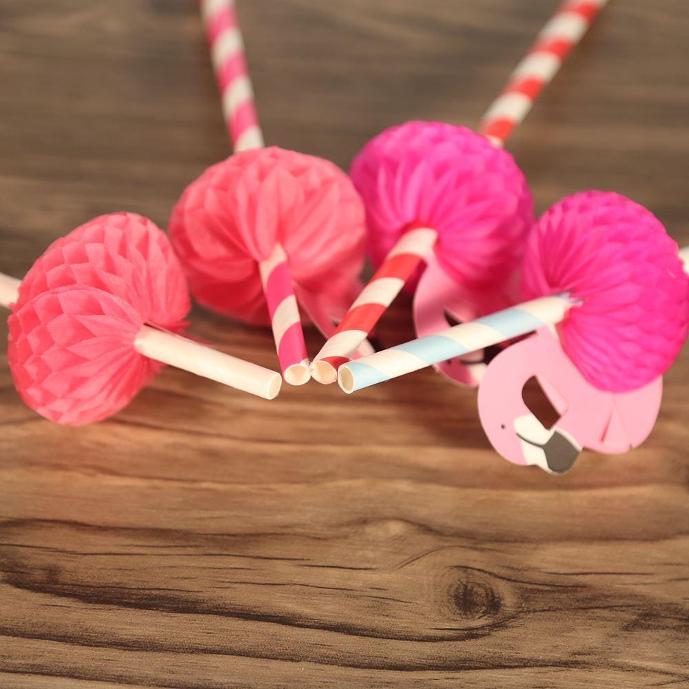 50 adet / takım Doğum Günü Düğün Kağıt Duş için Kağıt Payet Kutlama ve Parti Flamingo Dekore ile Parti Gıda Sınıfı Kağıt Payet
