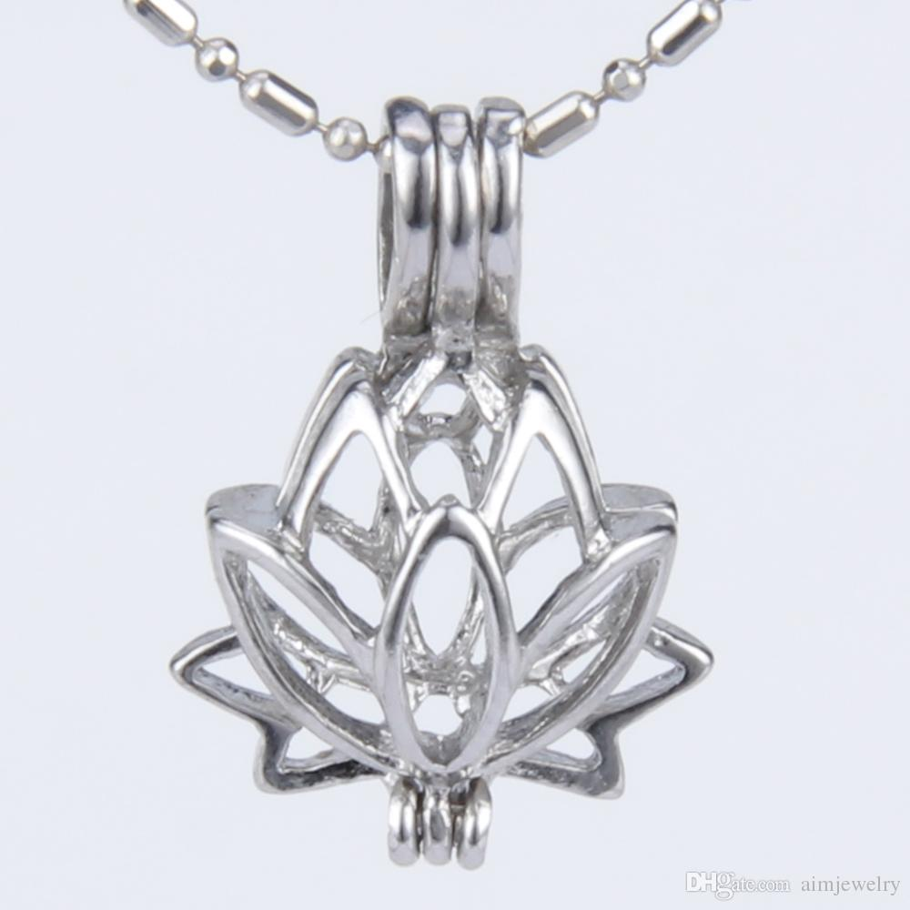 2019 Silver Plated Lotus Flower Shape Cage Pendant 15821mm Fashion
