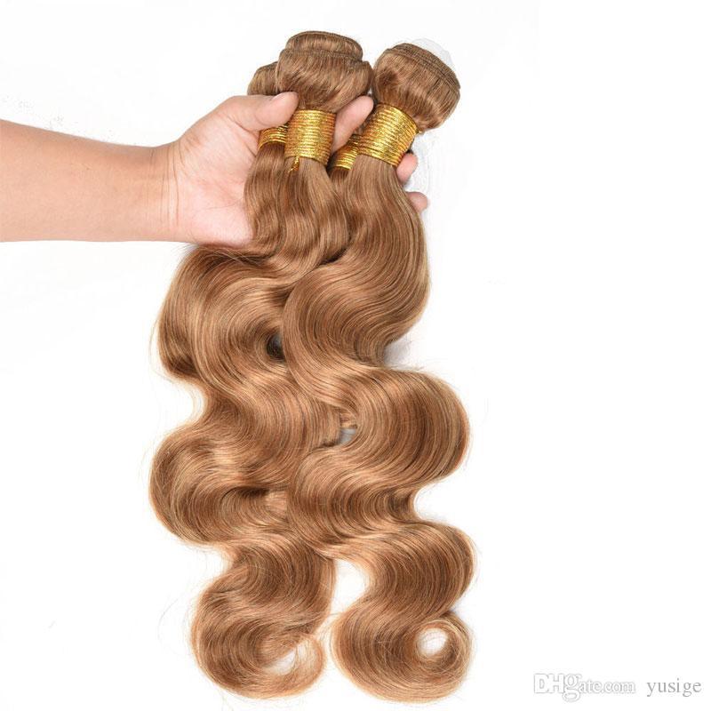 Blond human hair extensions 8A grade super cheap peruvian body wave virgin hair weft weaves 300grams #27