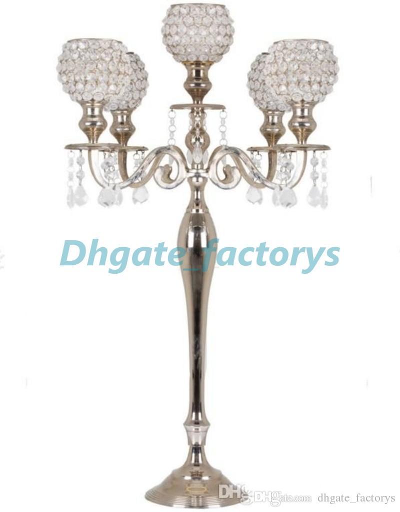 5 Arm Wedding Candelabra With Hanging Crystal Beaded For Wedding ...