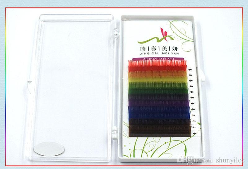 12 Filas de Colorido Arco Iris Extensión de Pestañas de Alta Calidad 0.1mm Coloridas Pestañas Individuales Herramientas de maquillaje es Envío Gratis ZA2359