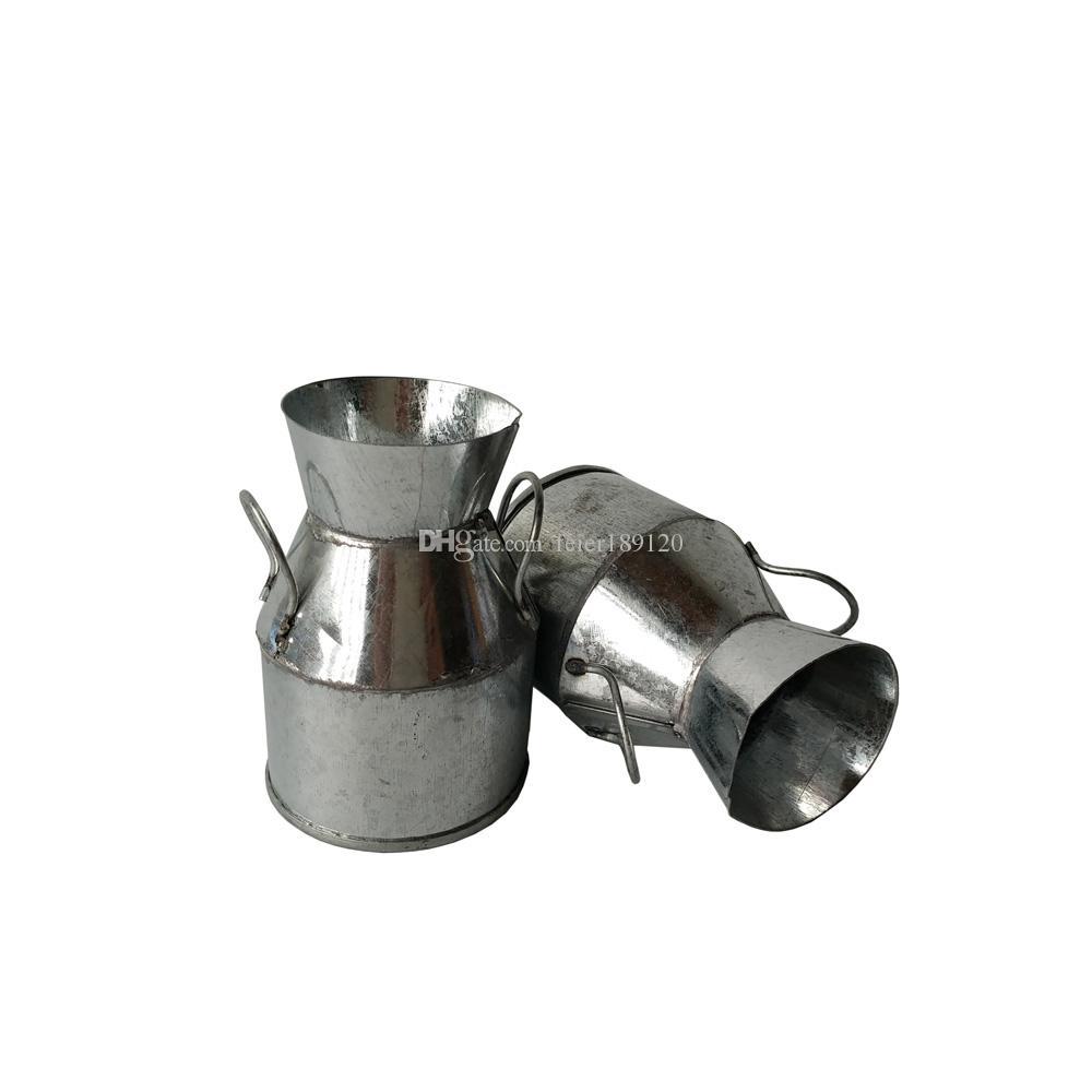 Vintage Nostalgia Mini Garden Silver Watering Can/ Milk Tin Bucket ...