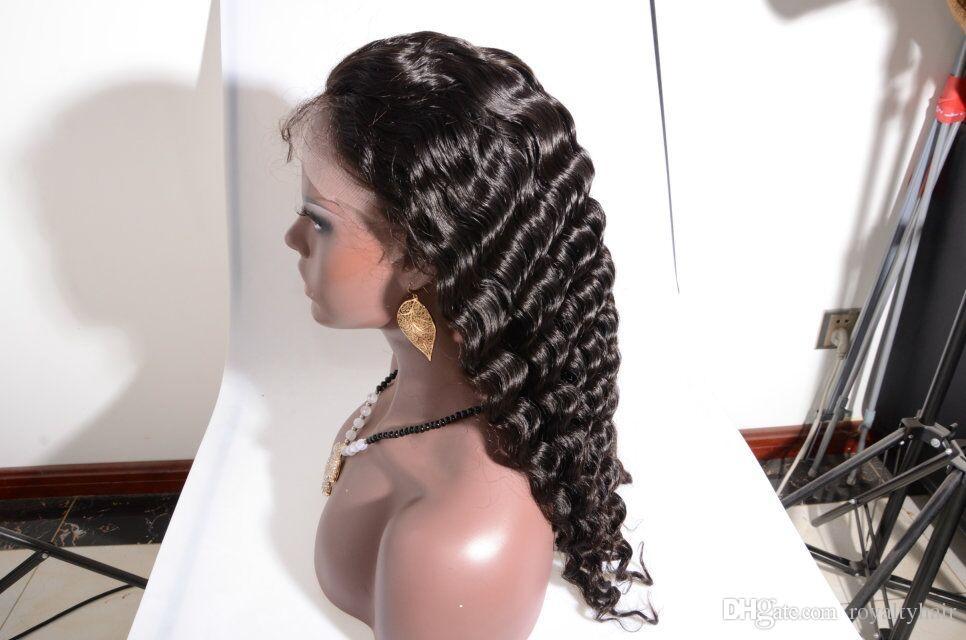 Cheveux humains sans colle Full Lace Wig Mongolian Indian Peruvian Malaysian Brazilian Front Lace Wigs bleached noeuds Deep Curl perruques avec des cheveux de bébé