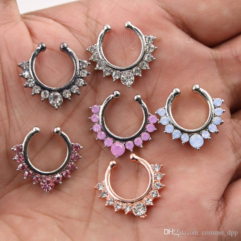 Trendy Nose Rings Body Piercing Jewelry womens Diamond crystal Fake Open Hoop Nose Rings Studs For ladies Non Piercing Jewelry