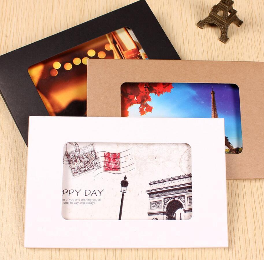 Wholesale 1551025mm foldable kraft paper postcard box with window wholesale 1551025mm foldable kraft paper postcard box with window for photo display greeting card party packaging window box boxes for party box kraft m4hsunfo