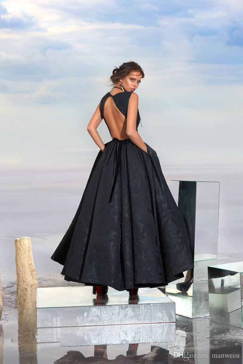 High Low Balck Arabic Evening Dresses 2017 Lace Appliqued Backless Prom Dress For Women Jewel Neck Formal Celebrity Party Gowns