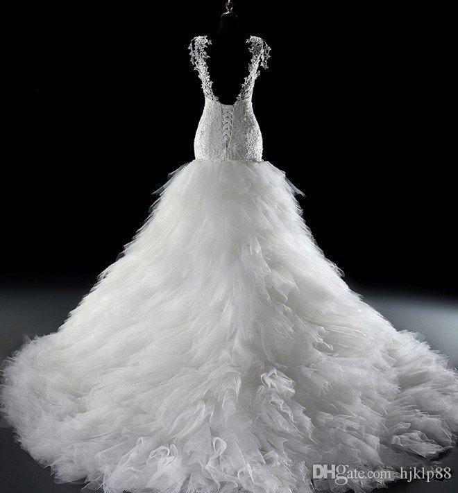 Nouvelle robe de noiva 2016 Sirène Dentelle Tulle Corset Église Robe De Mariée Robes Applique Fit Flare Sheer Plus La Taille Robes De Mariée